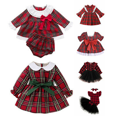 Baby Girls Christmas Red Plaid Dress Tutu Princess Party Fancy Costume Outfit • 9.69£