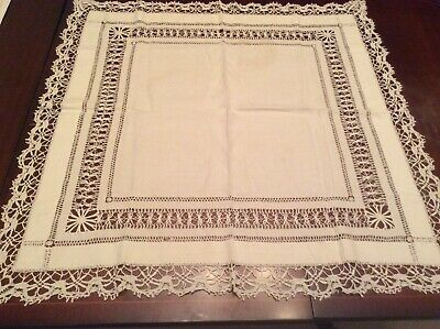 Lovely Pulled Thread  Lace Edged  Tablecloth ( G10) • 10£