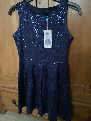 Yumi Navy Sequin Girls Party Dress Size 11-12 Years Brand New • 7.99£