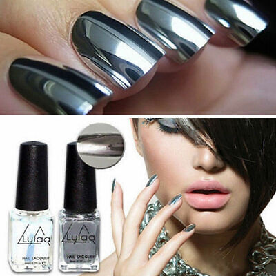 Metallic Nail Polish Mirror Silver Chrome Effect Varnish Gel Holographic Suit • 3.59£