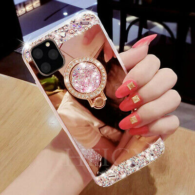 AU9.10 • Buy For IPhone 11 12 Phone Cases Mirror Diamonds Back Cases With Stand Ring Holder
