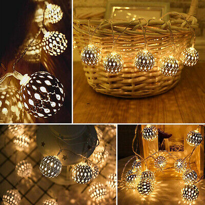 Fairy Moroccan Ball LED Lights Battery Operated String Light Party Decor Lamp • 9.11£