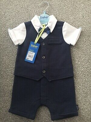 Baby Ted Baker Smart Dickie Bow Romper.. 3-6 Months.. Brand New With Tags • 20£