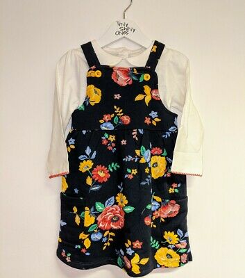 Baby Girls Dress Ex Store Pinafore Floral Cream Navy Yellow Red 6 9 12 18 Months • 7.99£