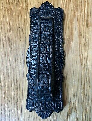 Antique Vertical Cast Iron Letter Box Door Knocker Striker • 21.50£