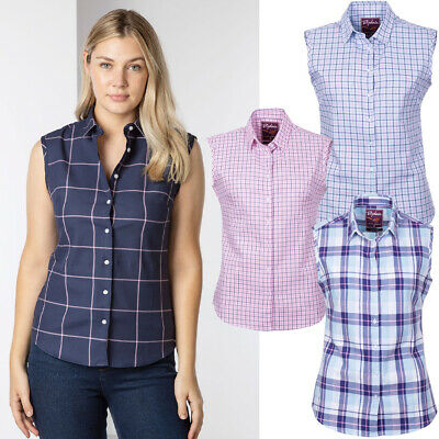 £14.99 • Buy Rydale Sleeveless Shirt Stripe & Check Shirts Summer Top Casual 4 Colours