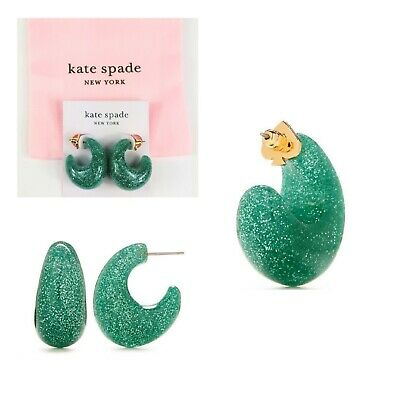 $ CDN28.06 • Buy NWT Kate Spade New York Adore-Ables Green Glitter Resin Hoop Earrings & Dust Bag