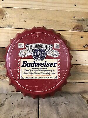 Budweiser Vintage Retro Metal Bottle Top Wall Sign 30cm • 10.45£