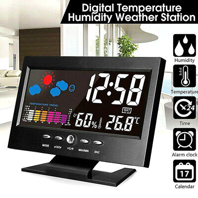 Projection LCD Display Digital Alarm Clock LED With Temperature Weather Station- • 6.99£