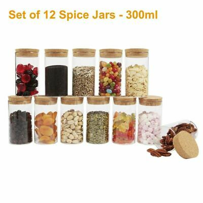 Canister Small Glass Jars With Cork Stopper Lids Airtight Sealing Mini Spice Jar • 15.49£