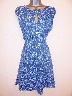 Stunning Warehouse Blue & White Ditsy Bow Print Casual Day Tea Dress Size 12 • 17.99£