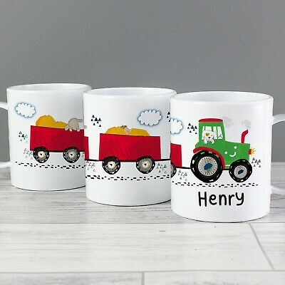 £10.99 • Buy Personalised Tractor Plastic Mug Children's Birthday Gift Juice Cup Any Name