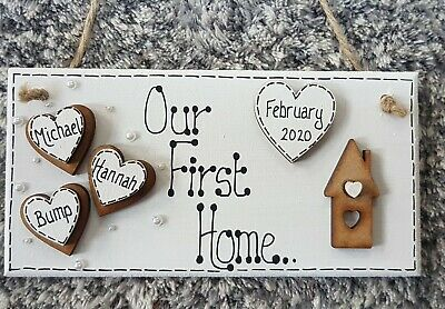 £4.99 • Buy Personalised Our First Home Family Hanging Plaque/Sign, Wooden, New Home Gift