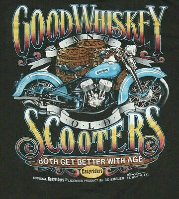 $ CDN130.65 • Buy Vtg 80s 3D Emblem Easyriders Motorcycle T-Shirt Size XL Good Whiskey Old Scooter