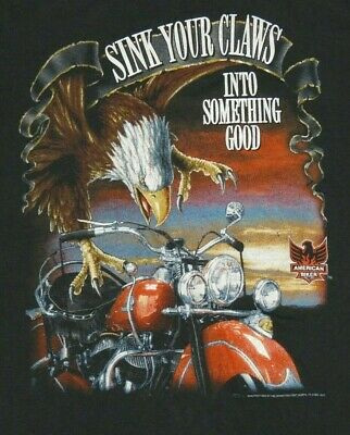 $ CDN39.19 • Buy Vintage 1990s 3D Emblem American Biker Motorcycle T-Shirt Size L Sink Your Claws