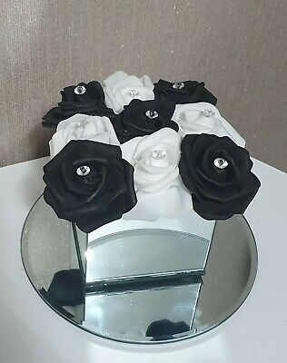 Artificial White And Black Flowers In Mirror Cube Vase 14x10cm • 18.99£
