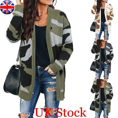Women Camouflage Knitted Sweater Coat Cardigan Ladies Casual Warm Jacket Outwear • 16.62£
