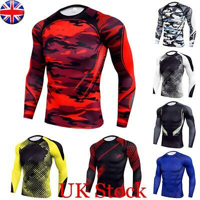 Mens Compression Base Layer Top Long Sleeve Body Fitness Gym Sports Fit Shirt UK • 12.30£