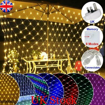 Led Net Mesh String Fairy Lights Curtain Wedding Party Xmas Tree Garden Home Uk • 14.27£