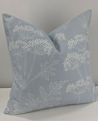 """John Lewis Cow Parsley Fabric Cushion Cover 17""""x17"""" Duck Egg  Double Sided. • 9.45£"""