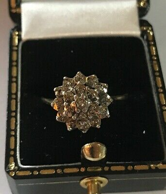 £145 • Buy Women's 9ct Gold Diamond Cluster Ring Size P 1/2 Stamped W2.2g Quality Ring