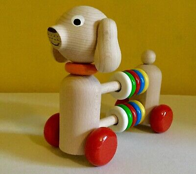 NEW Baby Activity Toy,wooden,dog,abacus,push Along,counting Beads,counters,child • 14£