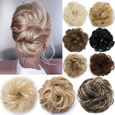 £4.91 • Buy UK Curly Messy Bun Hair Piece Scrunchie Updo Thick Hair Extensions Real As Human
