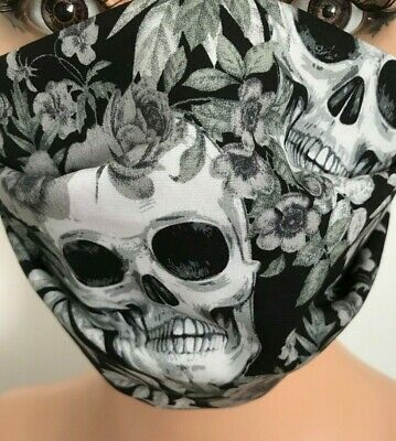 Goth Face Covering/Mask,Cotton Adult Skulls Goth,Black, Washable • 2.99£