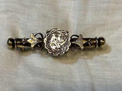 Antique Victorian Engraved Silver Sewing Etui Needle Case Nanny Pin Brooch • 14.99£