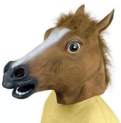 £7.98 • Buy Rubber Horse Head Mask Panto Fancy Party Cosplay Halloween Adult Costume