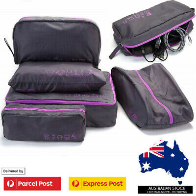AU12.95 • Buy 5Pcs Packing Cubes Travel Pouches Luggage Organiser Clothes Suitcase Storage Bag