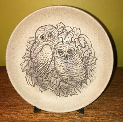 Poole Pottery Stoneware Small Plate Owls                                  Ref173 • 6£