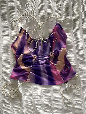 BNWT Tie Dye Pink Purple Y2K Ruched Strappy Crop Top Size S • 7.51£