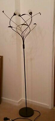 Art Nouveau Style Floor Lamp 3 Bulbs Flower And Leaf Design • 18£