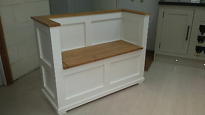 Solid Pine Painted Cream/white Monks Bench Pew/made To Measure/hallway Bench • 280£