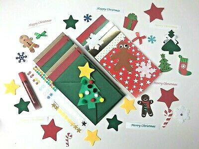 Children's CHRISTMAS Card Making Kit  6 X A6 Cards Xmas Kids Craft Set  • 6.99£