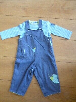 Marese Baby Boy's Dungarees & 2 Cotton Tops.  Snail  Applique 12 M • 2.99£