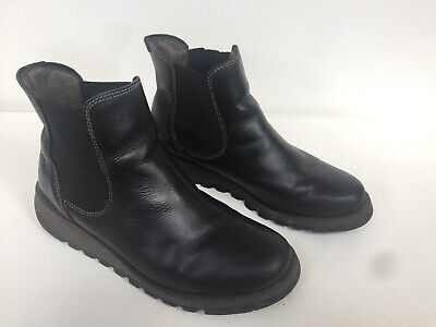 Ladies Black Leather FLY OF LONDON BOOTS UK8 EU42 • 67.99£