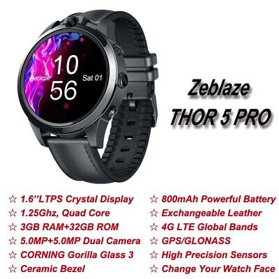 AU280.99 • Buy Zeblaze THOR 5 PRO Bluetooth GPS Smartwatch 4G Dual Camera Music For Android/iOS