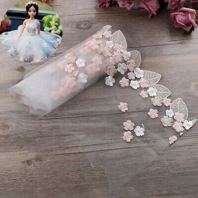 UK Floral Tulle Lace Trim Ribbon Fabric Flower Embroidery Wedding Trim Sewing • 3.88£