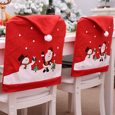 Christmas Dining Chair Seat Covers Xmas Chair Cover Table Hat Home Decor UK NEW • 7.89£