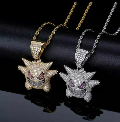 Pokemon Necklace Gengar Silver Gold Iced Out Hip Hop Bling Chain Pendant Jewelry • 8.99£