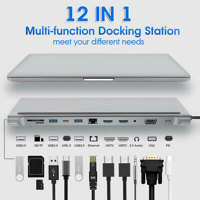 AU62.99 • Buy 12 In 1 Type-C Laptop Docking Station USB 3.0 HDMI 4K VGA PD USB Hub For MacBook
