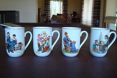 $ CDN19.46 • Buy 1982 Norman Rockwell 4 Mugs Toymaker Lighthouse Keeper's Daughter Bedtime Coffee