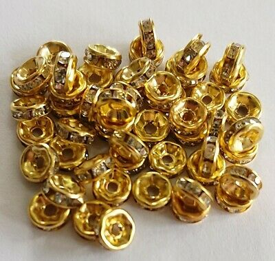6mm Rhinestone Gold Tone Spacer Beads For Jewellery Making Crafts • 2.99£