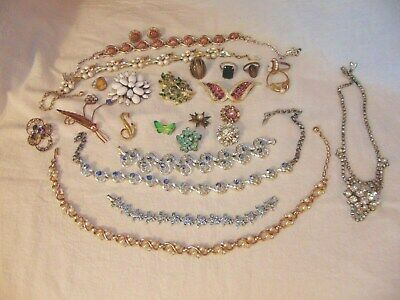 $ CDN15.64 • Buy Vintage Lot Costume AB Rhinestones Rings Necklaces Brooches Faux Pearls