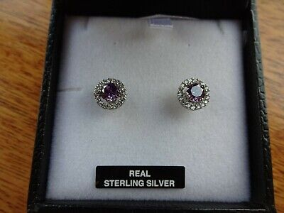 Beautiful Real Sterling Silver With Luxury Rhodium Finish Stud Earrings. New • 7.50£