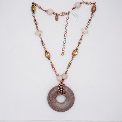 $ CDN10.44 • Buy Lia Sophia Women Jewelry Genuine Stone Donut Pendant Glass Beaded Necklace Chain