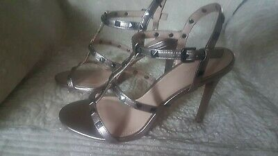 Ladies Strappy Metallic 4  High Heel Shoes Boxed Size 6 • 10£
