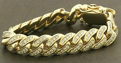 £5819.78 • Buy Heavy 10k Yellow Gold 9ct Diamond Cluster Thick Cuban Link Chain Bracelet